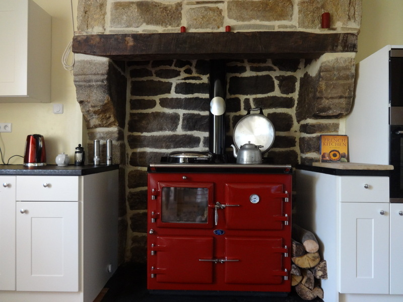 AGA wood cooker in French farm house.