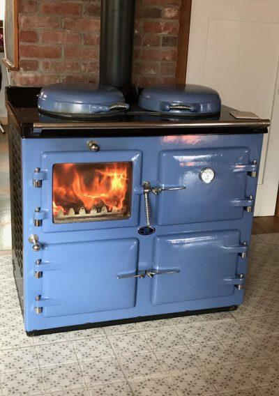 wood fired AGA in Wedgewood blue