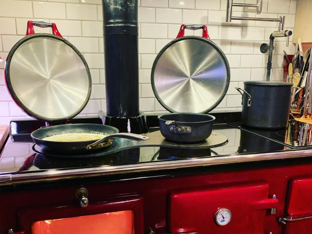 Wood fired AGA range cooker in Red