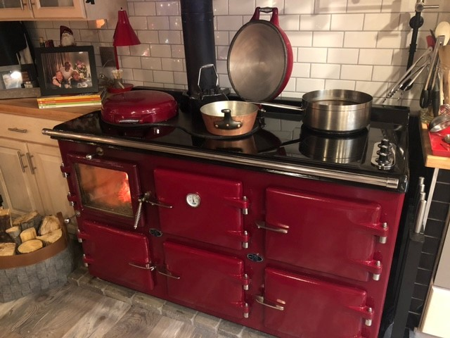 5 oven AGA Wood-Electric hybrid cooker in Claret
