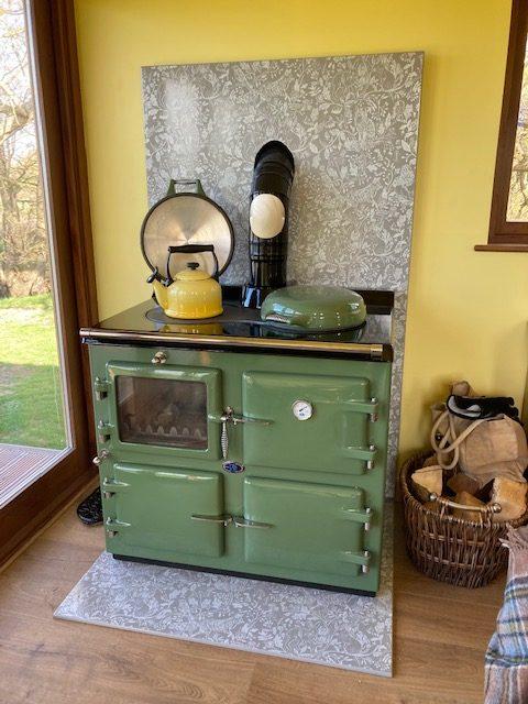 Wood fired Aga cooker in Caulk Green